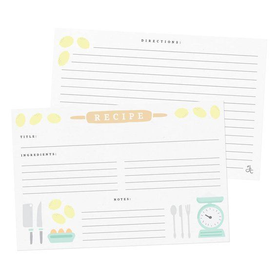 Rolling Pin Recipe Cards Set Of One Dozen Kitchen Accessories Recipe Card Set Double Sided Recipe Recipe Card Set Recipe Cards Cards