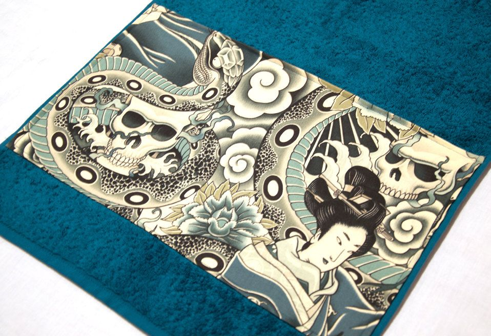 Petrol Turquoise Japanese Print Skull Snake Bath Towel By Pornoromantic
