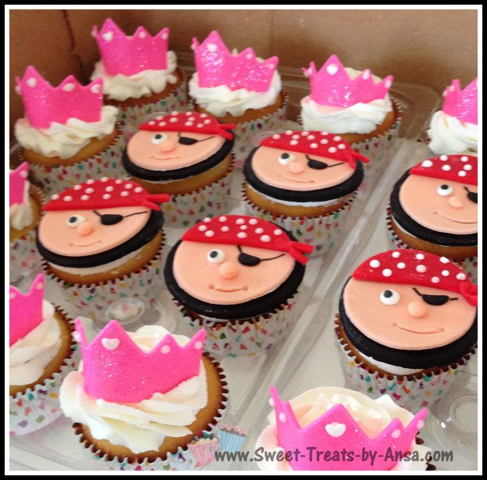 Princess and pirates theme bday cupcakes by ansa cake decorating website - Decoration cupcake anniversaire ...