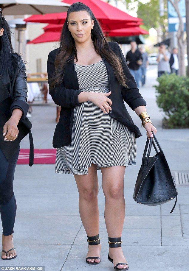 274bf1bbbdb Kim Kardashian - Black Jacket   Striped Babydoll Dress. Kim Kardashian -  Black Jacket   Striped Babydoll Dress Stylish Maternity ...