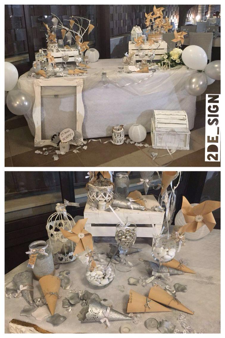 Come Addobbare Un Tavolo Per Confettata wedding 25th anniversary, silver, glitter, shabby chic