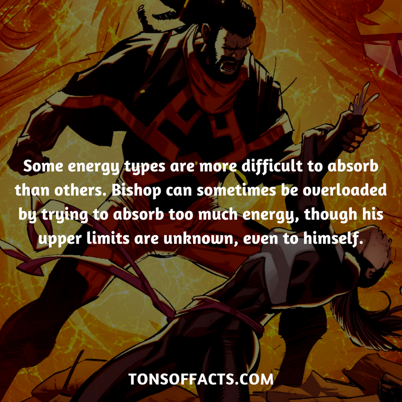 Some energy types are more difficult to absorb than others. Bishop can  sometimes be overloaded by trying to absor… | Superhero facts, Marvel  facts, Marvel dc comics