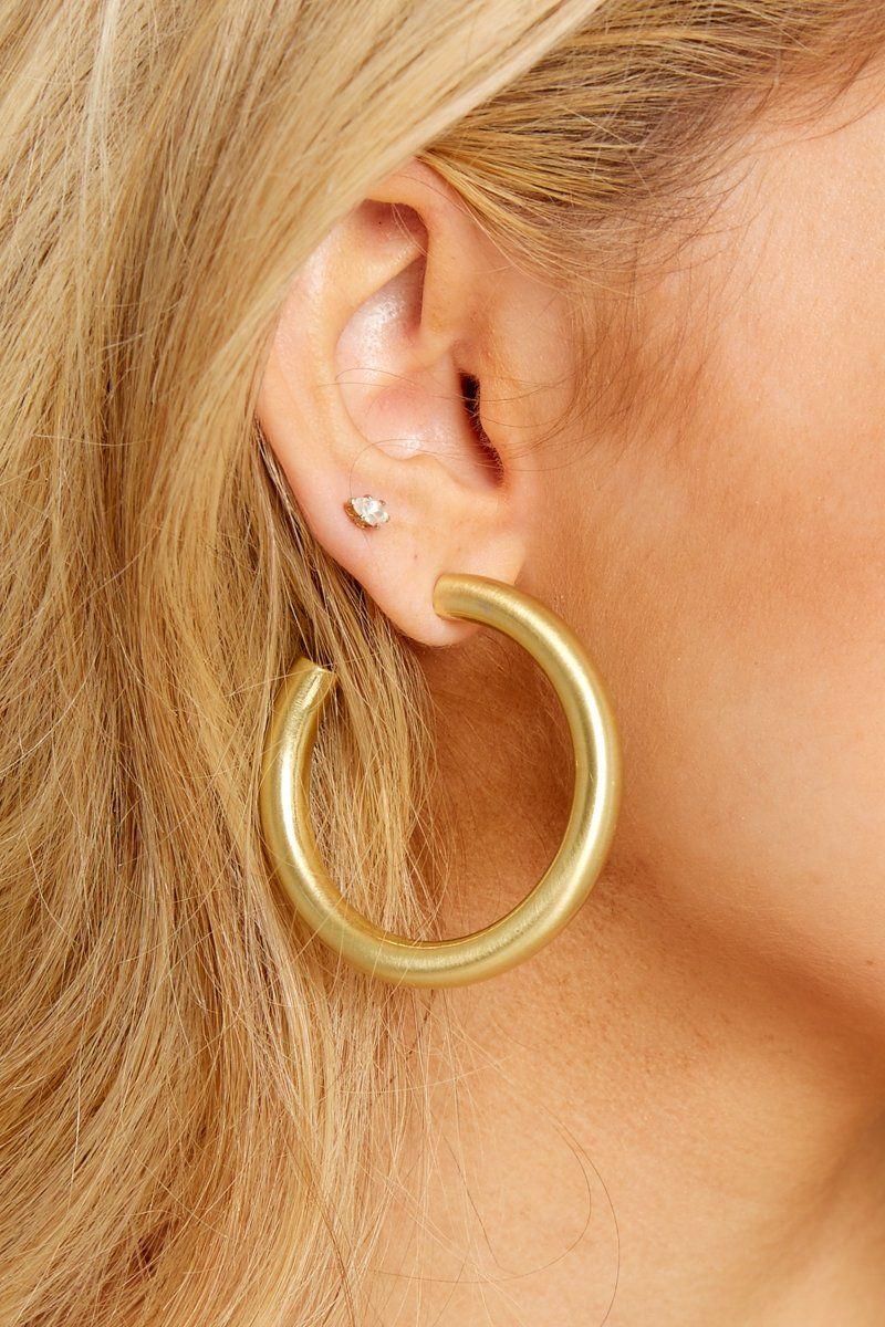 8aa5a20e0 Cute Gold Hoop Earrings - Thick Gauge Gold Hoops - Earrings - $24.00 – Red  Dress Boutique