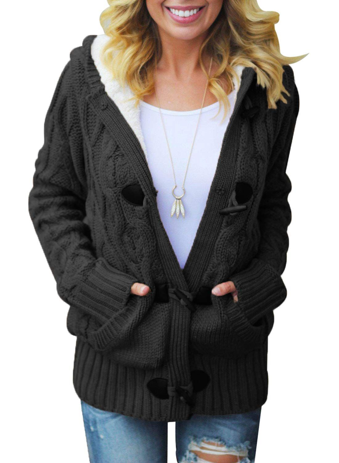 b11cdf8309c Dokotoo Womens Plus Size Regular Ladies Winter Hooded Casual Cardigans  Solid Open Front Long Sleeve Cable Knit Sweater Fleece Coat Outwear Black  XXLarge ...