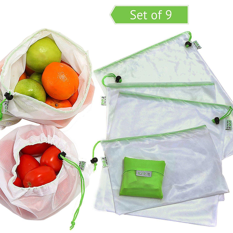 Set De 9 Bolsas De Malla Reutilizables 1 Bolsa Plegable De