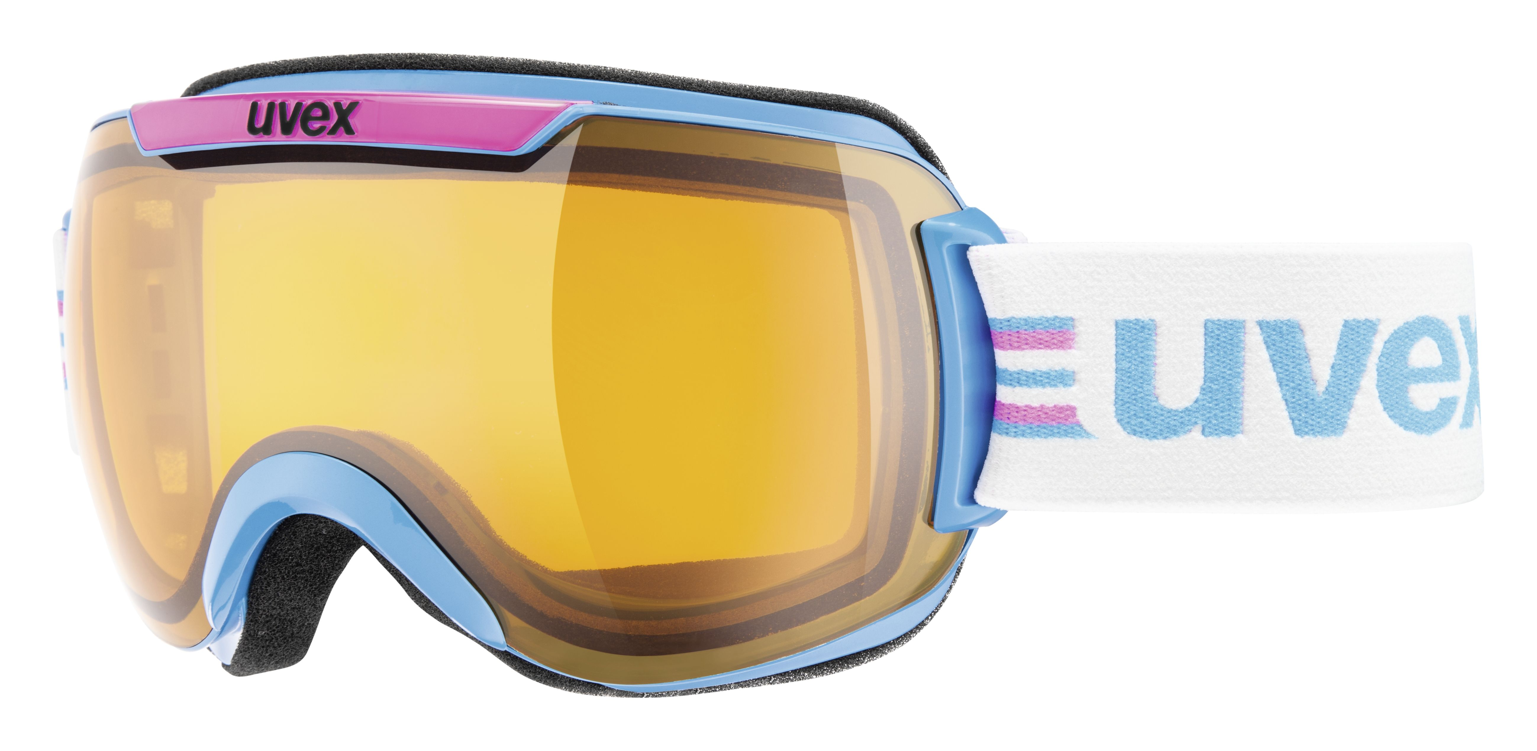 uvex downhill 2000 race // The lush over-sized uvex Downhill 2000 goggles just looks fantastic. In powder it scores points with its frameless construction. Even the heavier spray will glide easily off the goggle without sticking to the frame or affecting your sight.