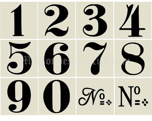 Old World Style Numbers Stencil