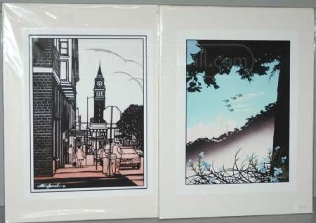 Pair of Signed Prints Seattle Artist Aki Sogabe