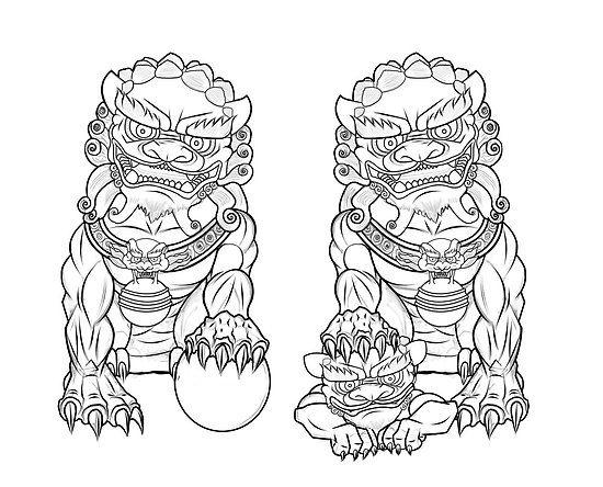 Pair Fu Lions By Jose Gomez Foo Dog Tattoo Design Foo Dog Tattoo Japanese Tattoo Art