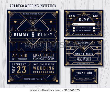 Art deco wedding invitation design template include rsvp card save art deco wedding invitation design template include rsvp card save the date card stopboris Choice Image