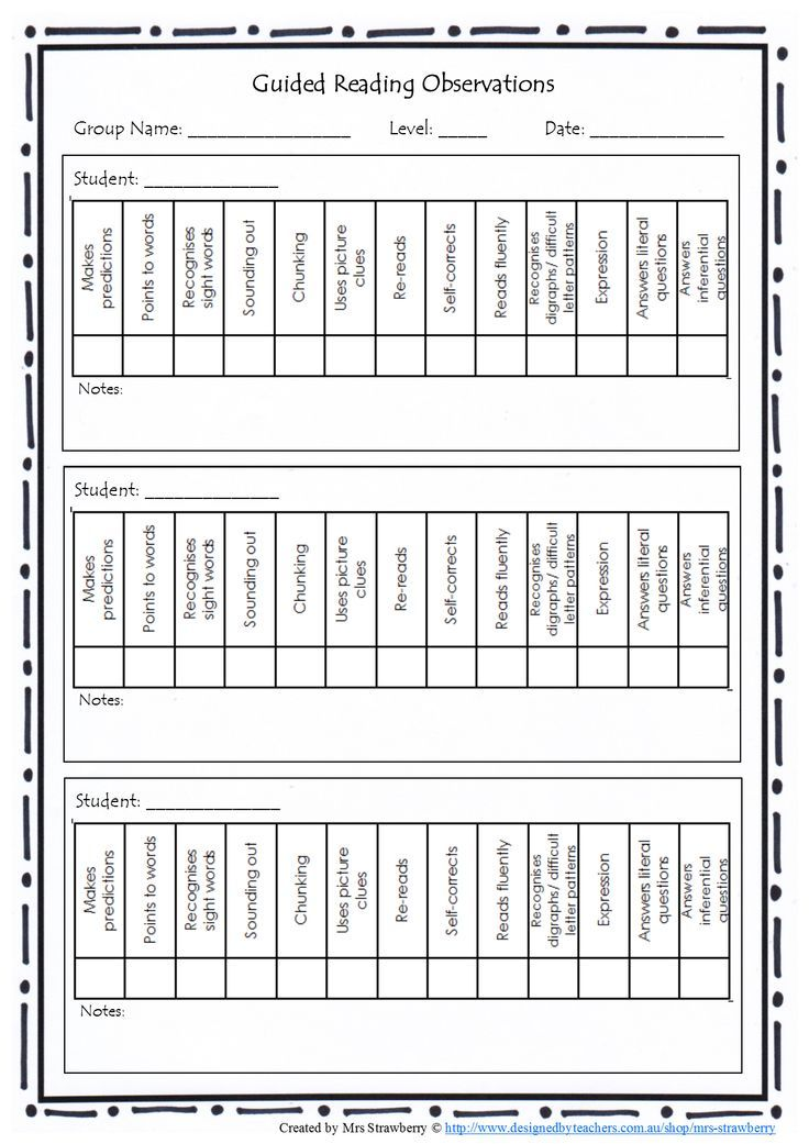 Guided Reading Observations Checklist Copy This Page Back And