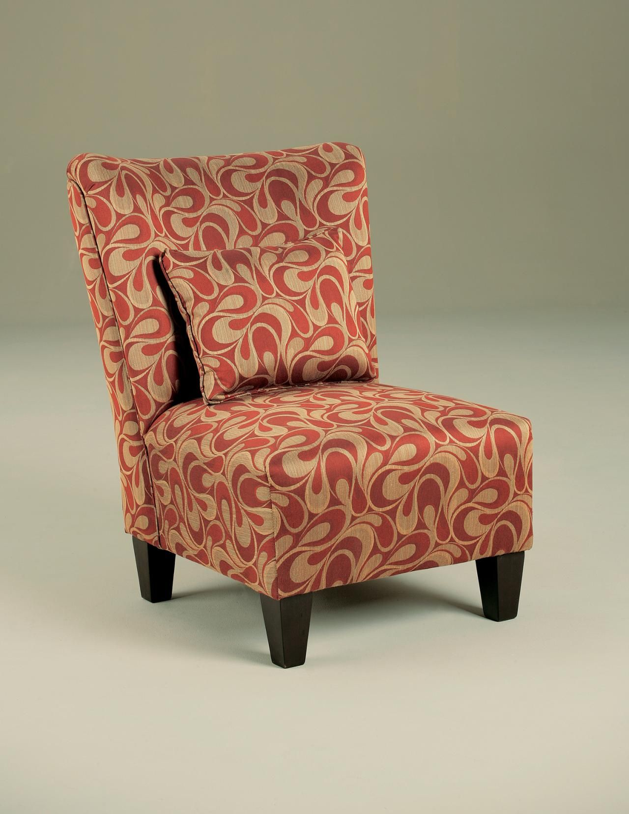 Furniture, Armless Accent Chair With Red And Gold Cover ...