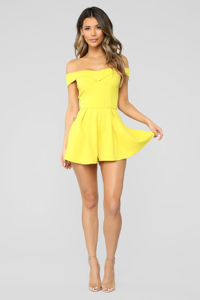 Off Shoulder Romper Lime Yellow