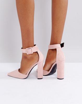 76c5ff32e Glamorous Dusty Pink Block Heeled Shoes | Block back heels | Pink ...