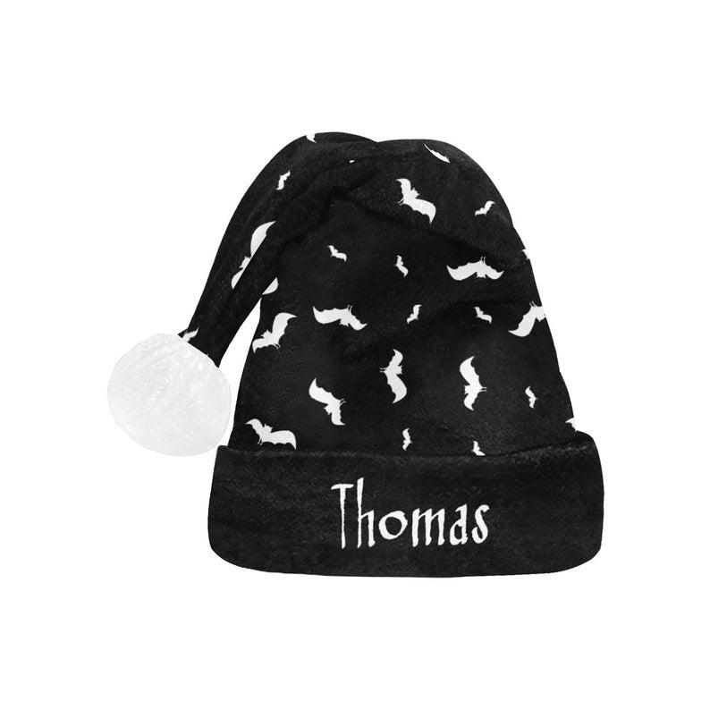 Black Gothic Christmas Hat Goth Personalize Christmas Hat Satanic Santa Hat Bat Personalized Santa Hat Christmas Hat Gothic Santa Hat