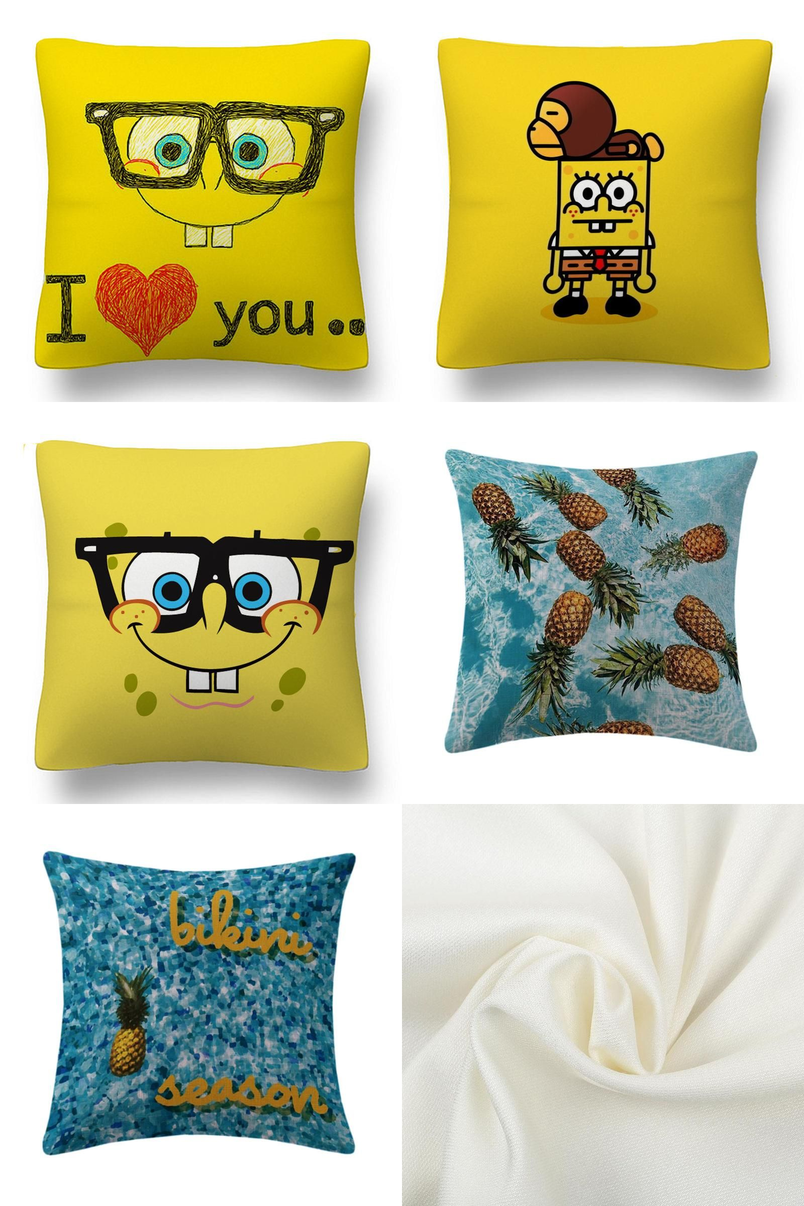 [Visit To Buy] Maiyubo Cold Fabric Polyester Pillow Cover Spongebob