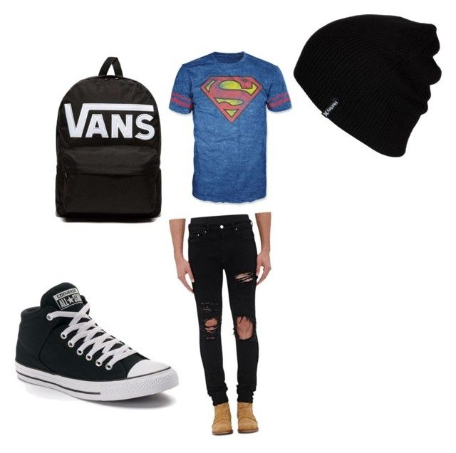 """superman"" by amerchen on Polyvore featuring Bioworld, AMIRI, Converse, Hurley and Vans"