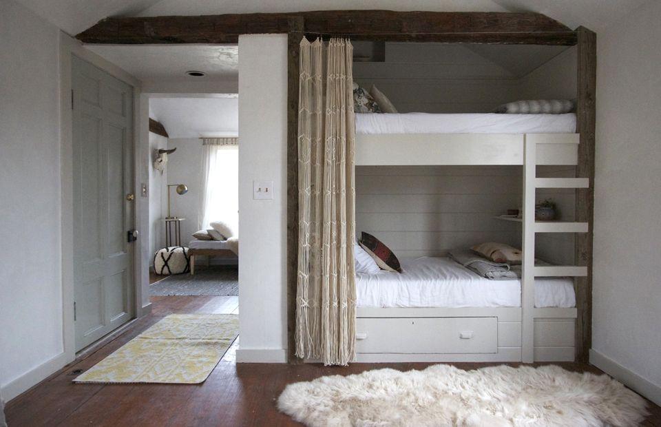 pale tones + tucked away bunk beds