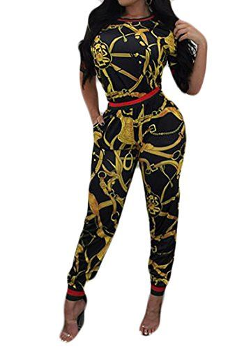 b811a34a3de0 YYG-Women YYG Women  s Long Sleeve Digital Print Jumpsuit Clubwear Long  Pants