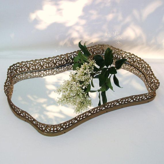 Vintage Mirrored Vanity Tray Mirror Perfume Tray Filigree Metalwork  Decorative Mirror Unique Decor - Vintage Mirrored Vanity Tray Mirror Perfume Tray Filigree