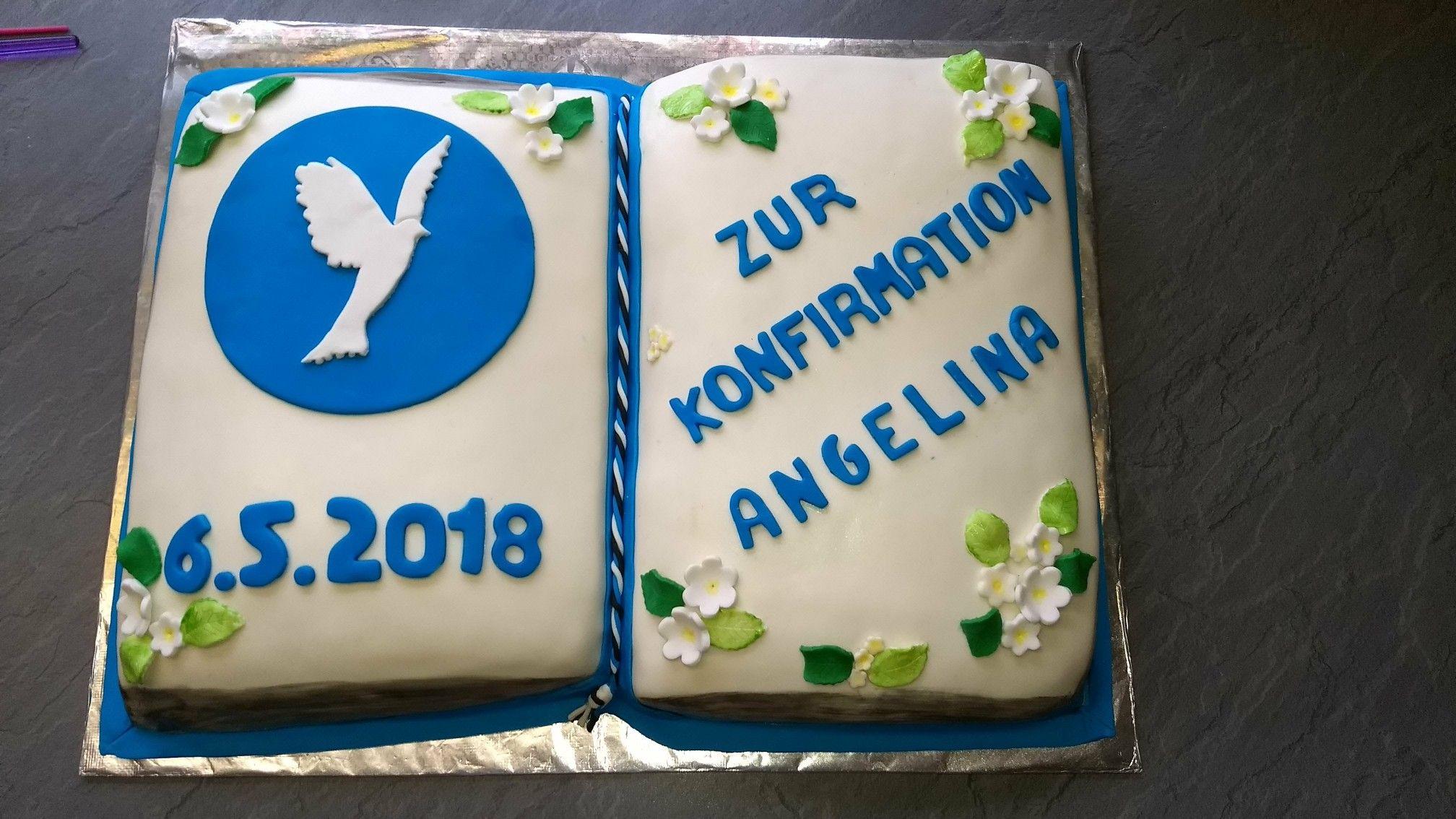 Attraktiv Heller Boden Dekoration Von Konfirmation Torte, Buchtorte Buchseite 1: Boden, Vanillebuttercreme
