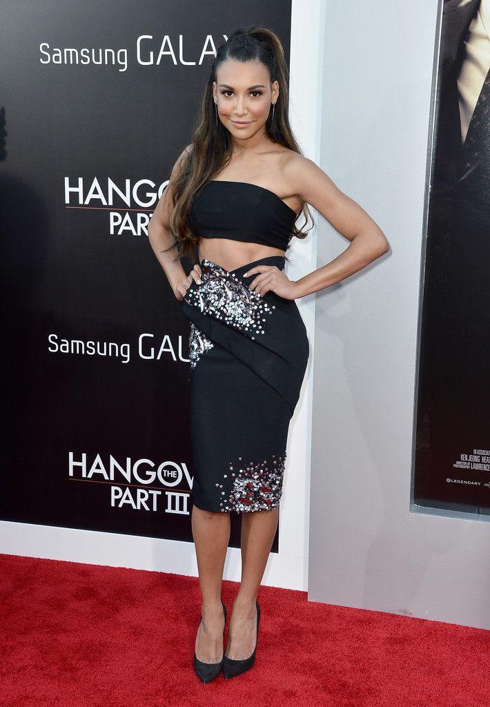 Naya Rivera.. black bandeau top, with Donna Karan Resort 2013 black origami pencil skirt..