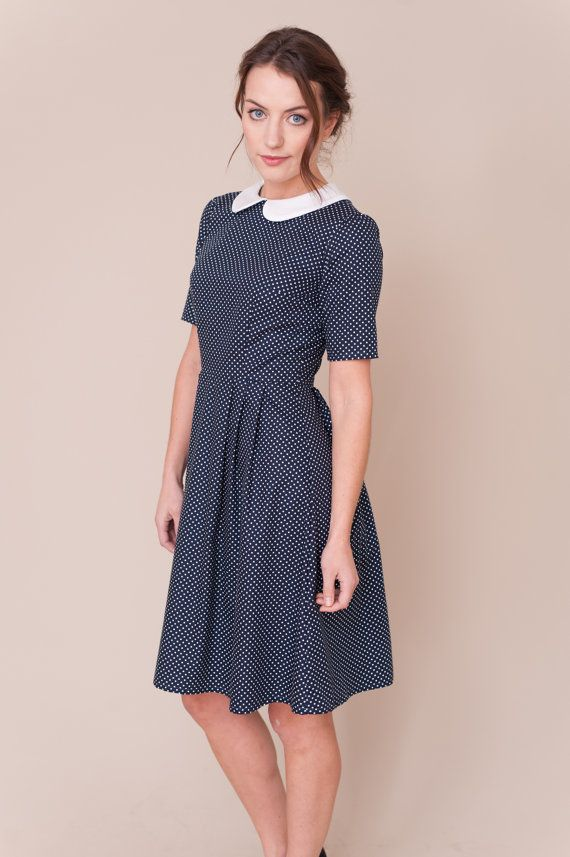 eb0cac46607 Navy spotty dress with peter pan collar от PLUMANDPIGEON на Etsy. Handmade  vintage inspired dress with short sleeves and pleated skirt.