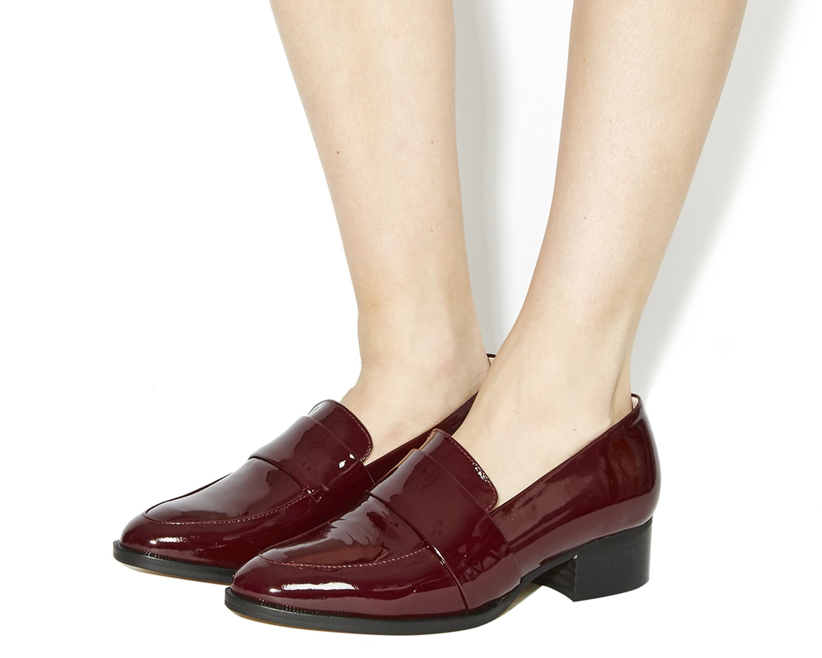 Office Qimble Block Heel Clean Loafers Burgundy Patent Leather - Mid Heels