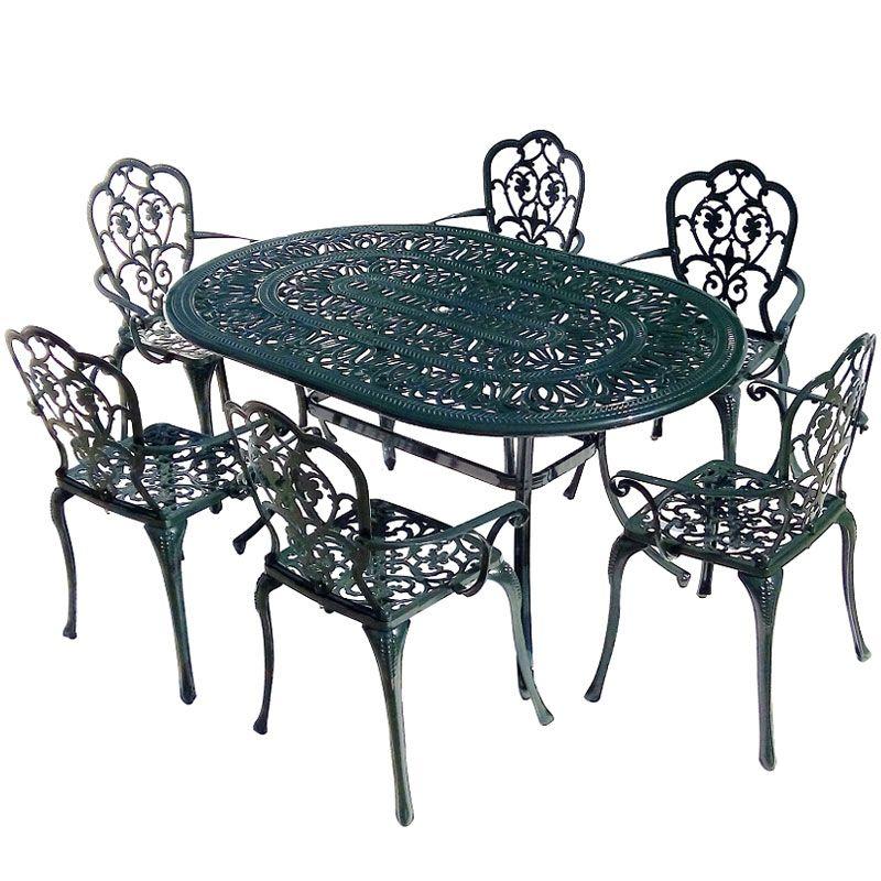 Ellister Stamford 6 Seater Dining Set Dark Green 150cm Table Free Uk Delivery Metal Dining Set Patio Dining Table Metal Garden Furniture