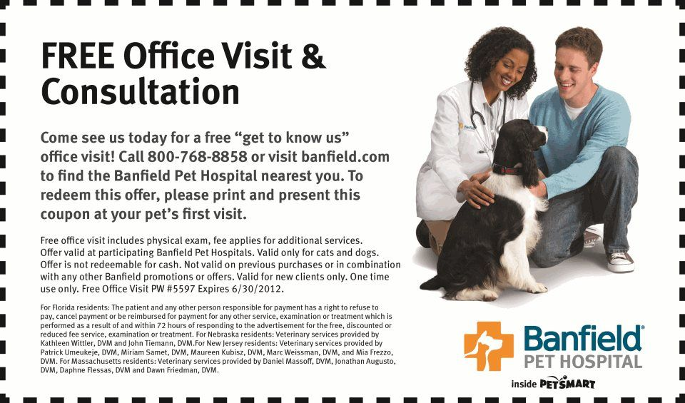 graphic relating to Banfield Coupons Printable identified as PetSmart: Absolutely free Banfield Check out Printable Coupon - Cost-free Place of work