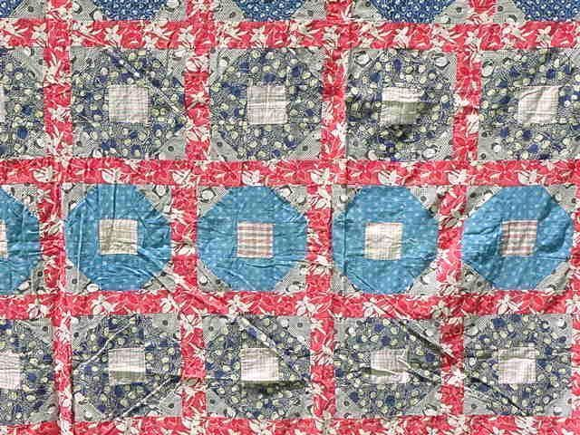 Red White Blue Hole In The Barn Door Quilt Top Patriotic Americana