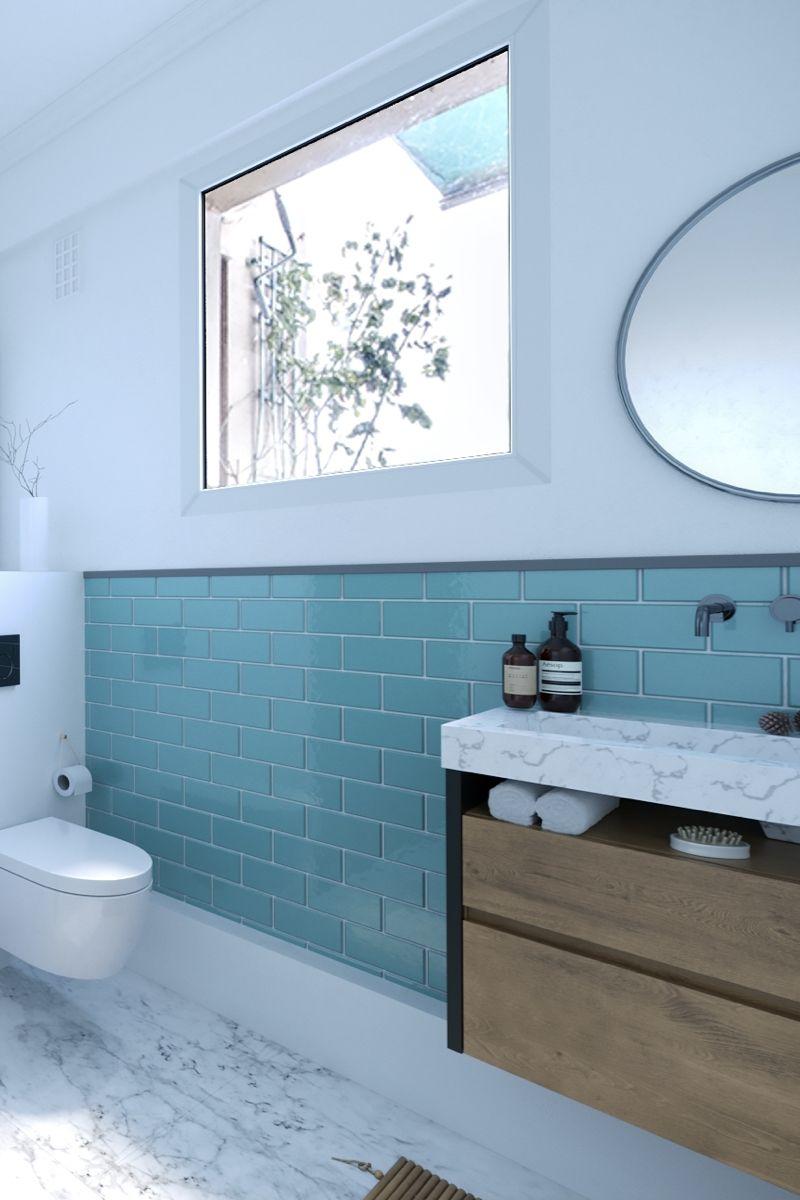 Salle De Bain Moderne Avec Sol En Faux Marbre Et Faience Bleu Turquoise Aux Murs Realise Par Lit Salle De Bains Moderne Salle De Bain Carrelage Salle De Bain