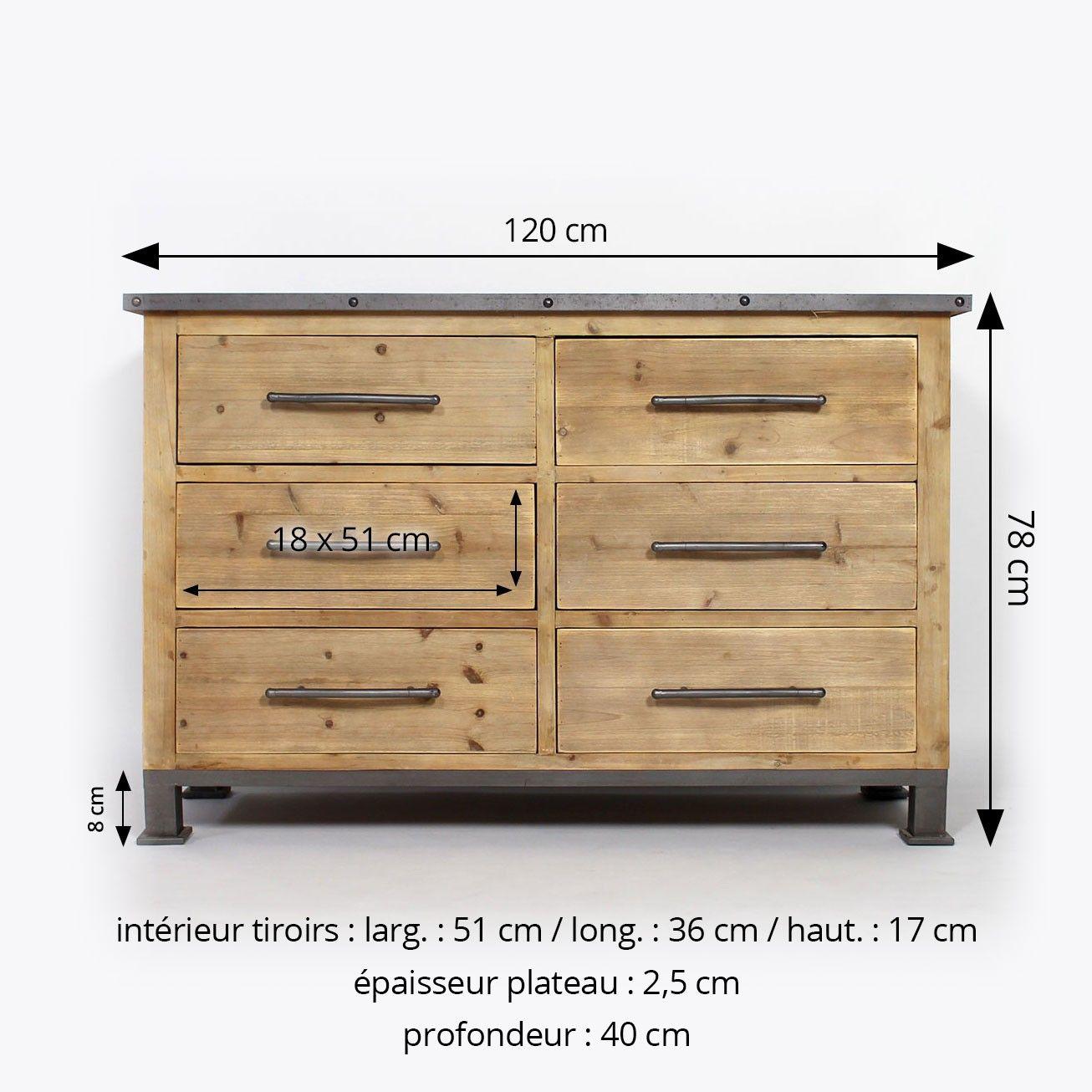 commode industrielle bois metal 6