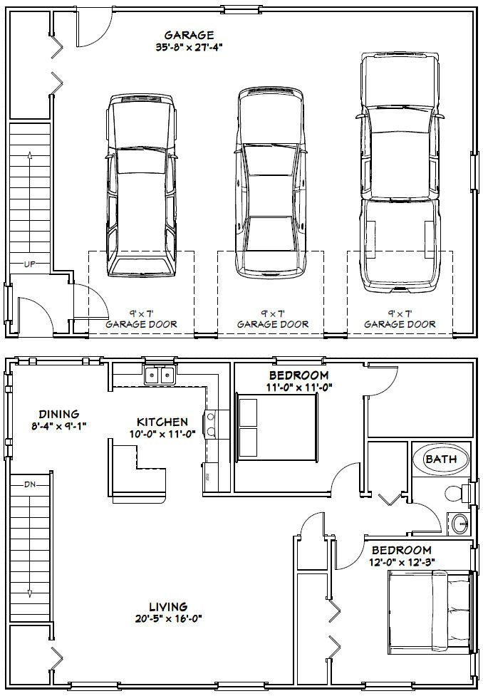 40x28 3 Car Garage 40x28g10f 1 136 Sq Ft Excellent Floor Plans
