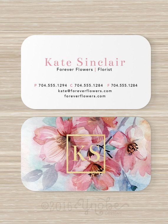 floral business card faux