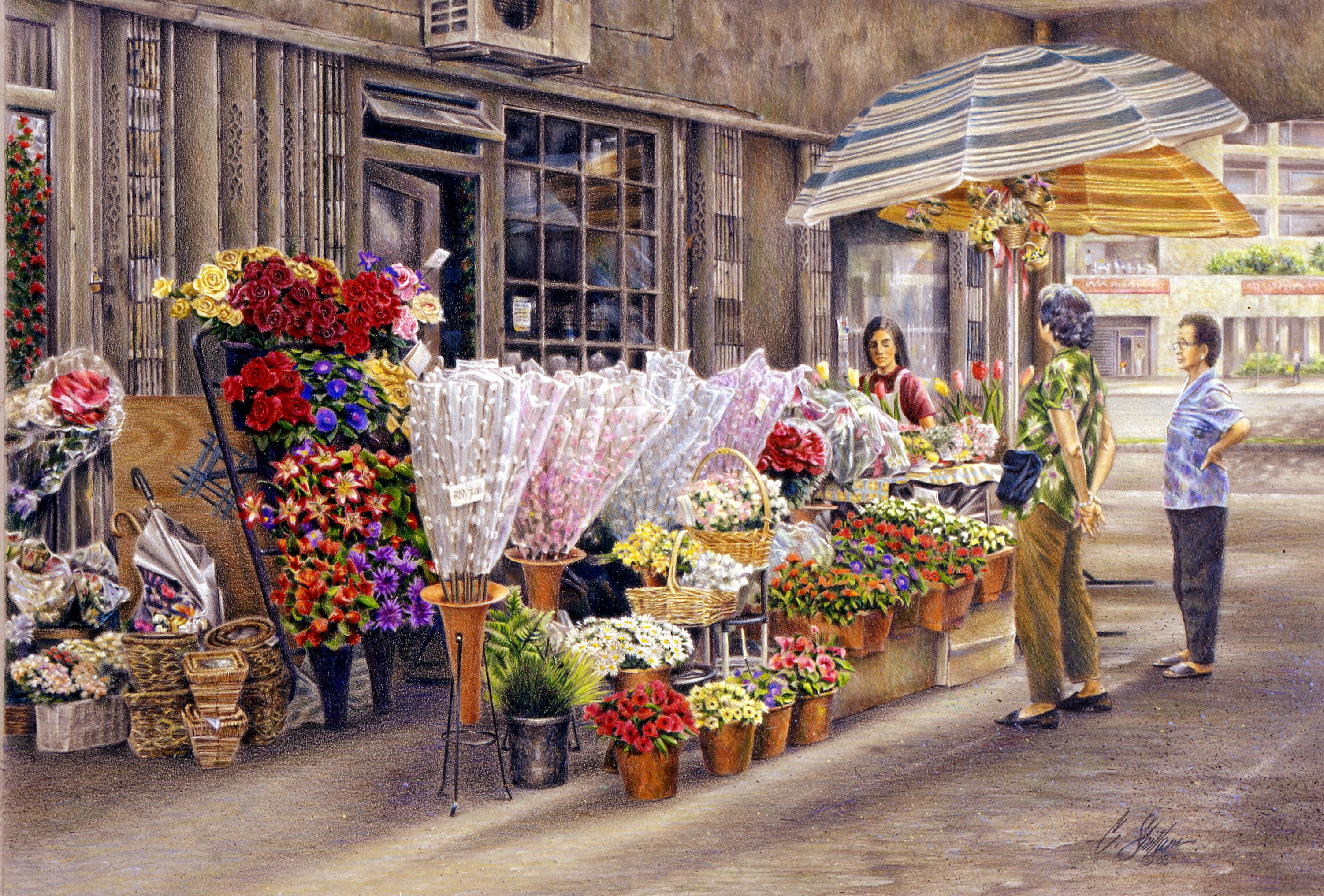 A colored pencil drawing titled kota kinabalu flower shop inspired by an actual downtown flower stand in kota kinabalu malaysia