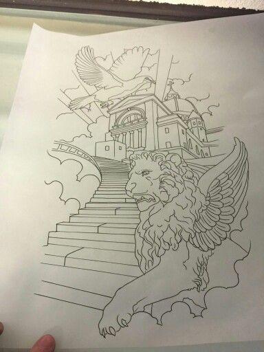 Stairway Tattoo Stencil