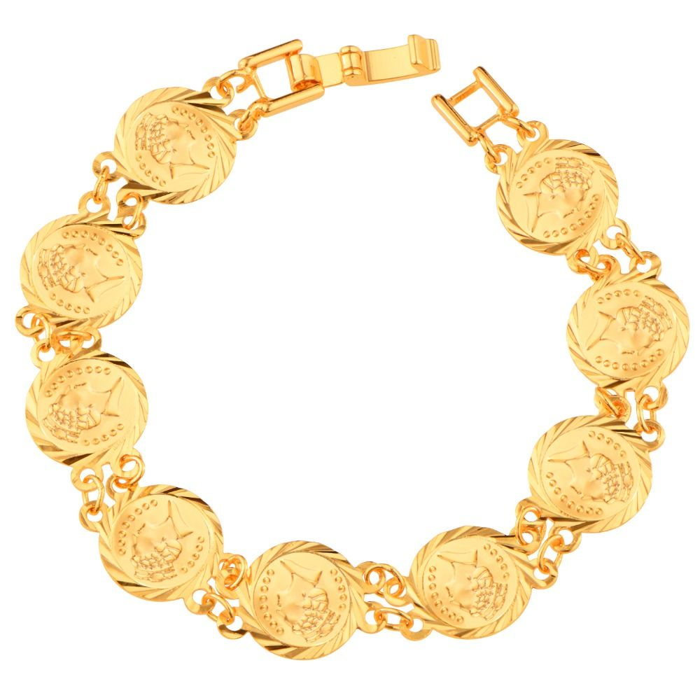 British queen coin bracelets women jewelry trendy quality gold
