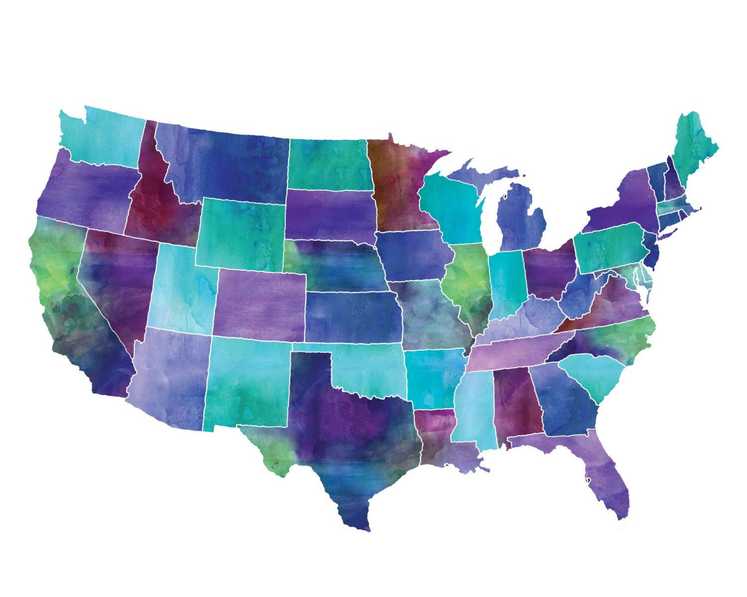 This jewel toned watercolor map of the United States is