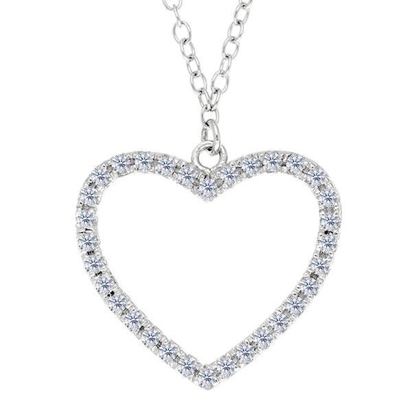 Heart With Cz Necklace In Rhodium Plated Sterling Silver - 18 Inches
