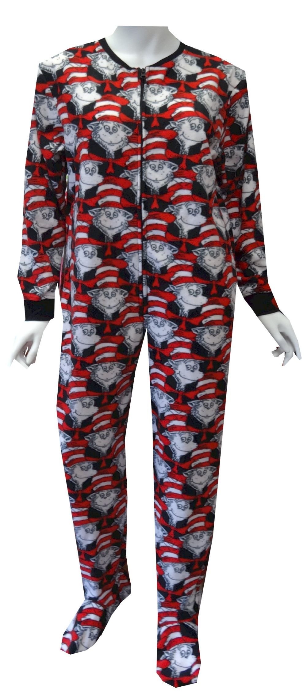 56fb1a06111e Dr Seuss Cat in the Hat Gripper Bottom Onesie Footie Pajama These ...