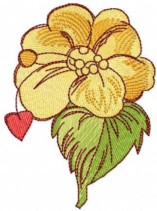 Yellow Flower And Red Heart Free Embroidery Design Machine
