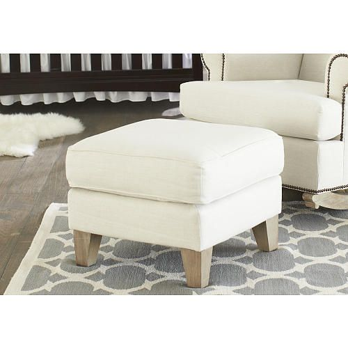 """Shermag Deluxe McKinley Ottoman - Driftwood Finish/Beige Fabric - Shermag - Babies """"R"""" Us"""