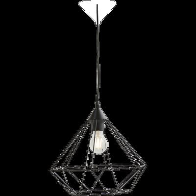 Suspension géométrique à 3 lumières en acier noir L79cm