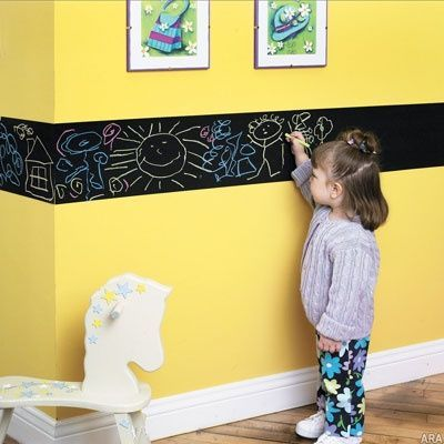Instead of a whole wall, try a chalkboard paint border ...