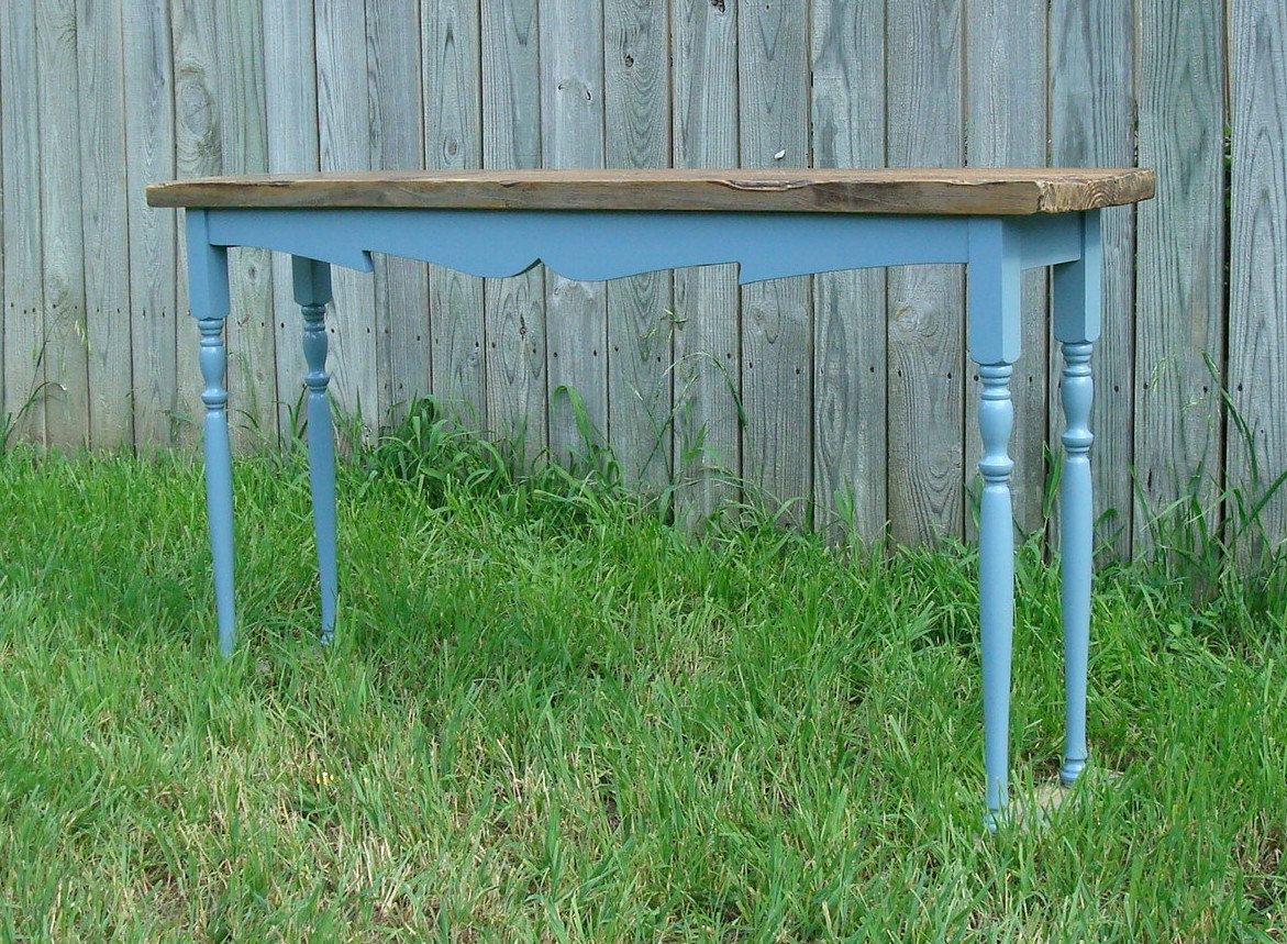 Frenchbluecountrystylehallconsolebyfarm2markethomedecor french blue country style hall console table reclaimed wood top and legs scrollwork detail made to order geotapseo Gallery