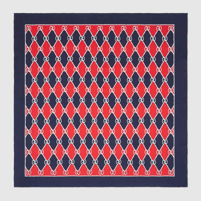602b1d73285 Gucci Rhombus print silk scarf in 2019