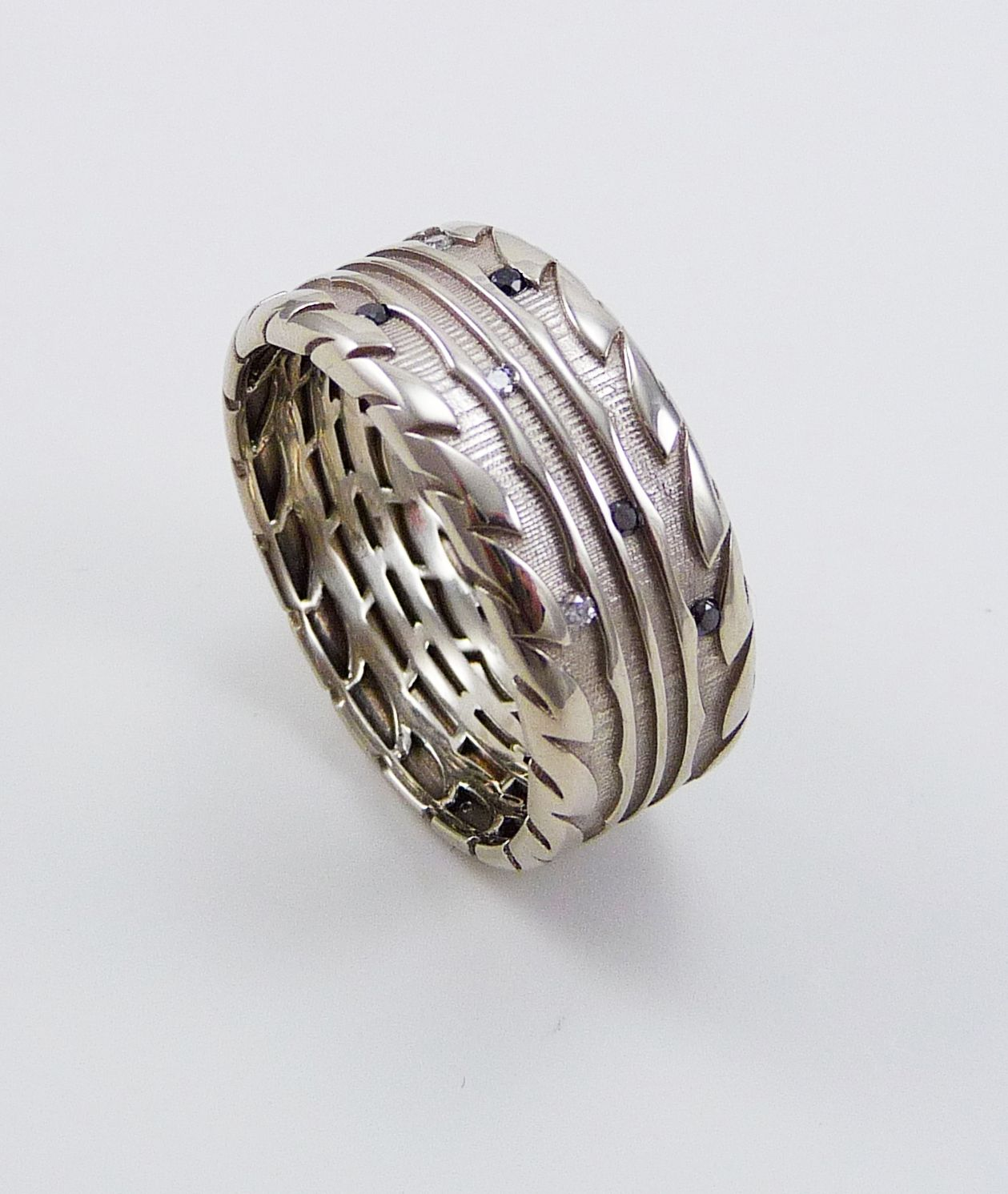 Tire Ring White Gold Mens Wedding With Colorless And Black Diamonds For My Grooms Band Car Truck Nerd That He Is