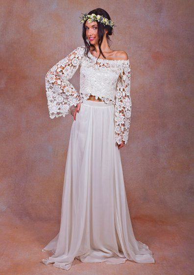 Pin for Later: 28 Reasons You Were Meant to Be a Boho Bride Dreamers & Lovers Alana Top + Fiona Skirt Dreamers & Lovers Alana Top + Fiona Skirt (£700)