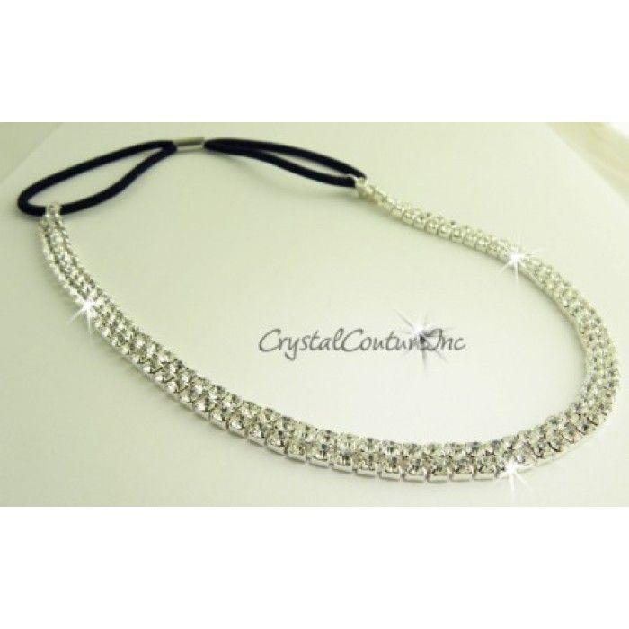 Crystal Couture | Crystal 2 Row Rhinestone Stretch Headband - Headbands - Hair Accessories